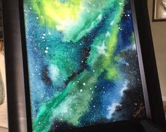 Blue, black, Green, and Yellow galaxy space nebula watercolor painting