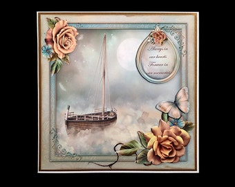 Handmade Vintage Style Sailboat Sympathy Condolences Greeting Card S002