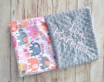 Monogrammed Minky Baby Blanket, Pink, Coral and Gray Elephant print, Personalized Blanket with name Newborn, Michael miller Happy Elephant