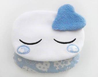 Petite bouillotte sèche kawaii nuage endormi bleu