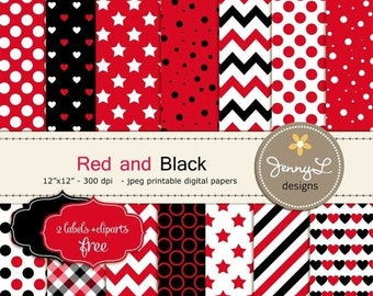 50% OFF Red and Black Digital Papers for Birthday Party, Digital Scrapbooking, Stars, Chevron, Polka Dots, Hearts