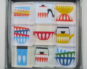 Mid Century Modern Catherine Holm Themed Refrigerator Magnets, Set of 9 Fridge Magnets with Storage Tin, Retro Magnets