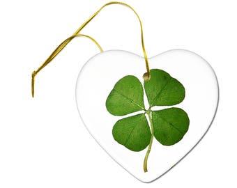 Lucky Four Leaf Clover Saint Patricks Day Ceramic Hanging Heart Ornament