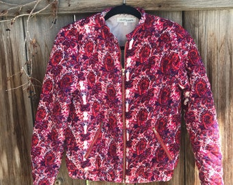 Vintage printed red bomber jacket / size medium