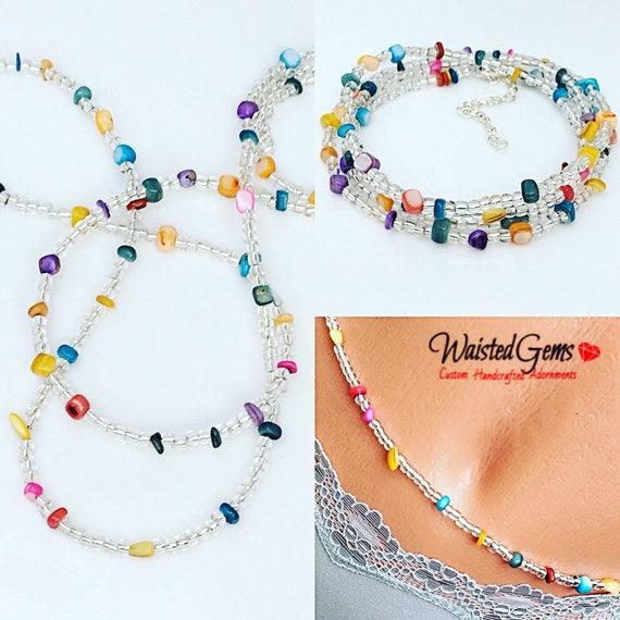 Multi Color Waist Beads, Belly Chain, Body Beads, Bikini, African Waist Beads, Boho Jewelry, waist beads zmw4434.3