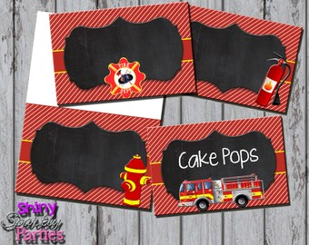 FIRETRUCK FOOD TENTS, Firetruck Buffet Labels, Firetruck Food Station Signs, Firefighter Food Tents, Fireman Party Decorations, Birthday