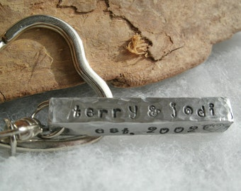 Valentines Day Key Chain - Personalized Key chain - Hand stamped key chain - 4 sided bar