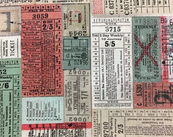 Tim Holtz Fabric by the Yard - Correspondence - Transportation Tickets in Multi - Quilter's Cotton