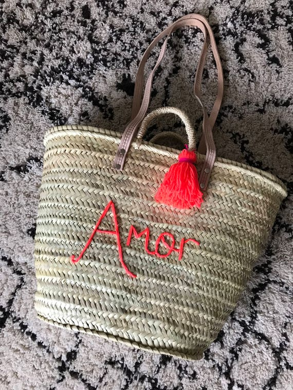 Personalised made to order wool embroidered name monogram Moroccan French market shopping beach basket tassel Pom Pom long leather handles