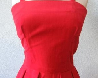 Vintage 60s Red Velvet Formal Long Dress and Popover Jacket Extra Small