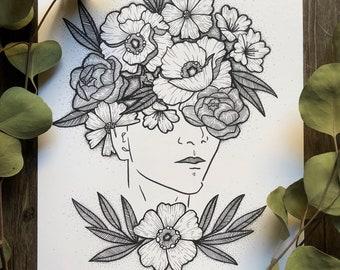 Bouquet Lady Art Print