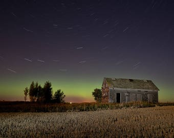 Abandoned Farm, Northern Lights, Fall Landscape, Star Trails, Rural Landscape, Prairie Farm, Night Photograph