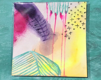 """Wound / Colorful Watercolor Painting on Artist Grade 8"""" x 8"""" Paper / Art by Sam Pletcher"""