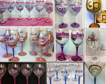 Business Logo custom hand painted Wine  Glasses and Beer Glasses