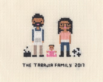 Custom Cross Stitch Family Portrait in Pixel Art Style (Unframed)