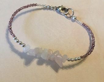 Rose quartz cluster bracelet