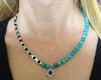 Gemstone necklace, Gemstone beaded necklace, Amazonite necklace, Green necklace, gift idea, gift for her