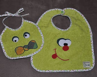Set of two naughty Monster baby bibs