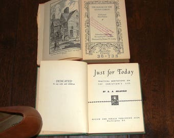 2 Pocket Books Your choice House of the Seven Gables Nathaniel Hawthorne 1930 Antique USA Just for Today Meditations on Christian Life 1950