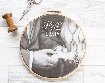 """Cotton anniversary gift: Your photo in 7"""" wooden hoop and embroidered with monogram and date"""