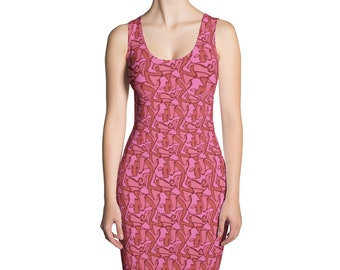Pink Camouflage Dress Abstract Geometric Stretch Dress