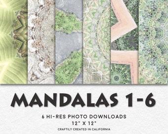 MANDALAS 1-6 Hi-Res Circular Pattern Backgrounds • Printable Digital Paper Set • Instant Download