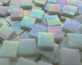 "Mosaic Tiles - 100 1/2"" Squares - Iridescent White Stained Glass - Hand-Cut"