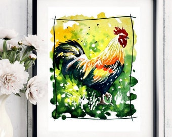 Rooster Art Chicken,Original ,Watercolor Painting, Art print from my original watercolor painting