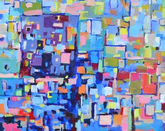 """Modern geometric blue abstract painting, Colorful painting,  Acrylic painting, original abstract, cities, roads,  12"""" X 12"""" , READY TO HANG"""