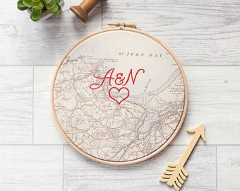 """Cotton anniversary gift: Vintage map in 7"""" wooden hoop and embroidered with heart or house and monogram"""