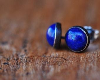 Lapis silver stud earrings