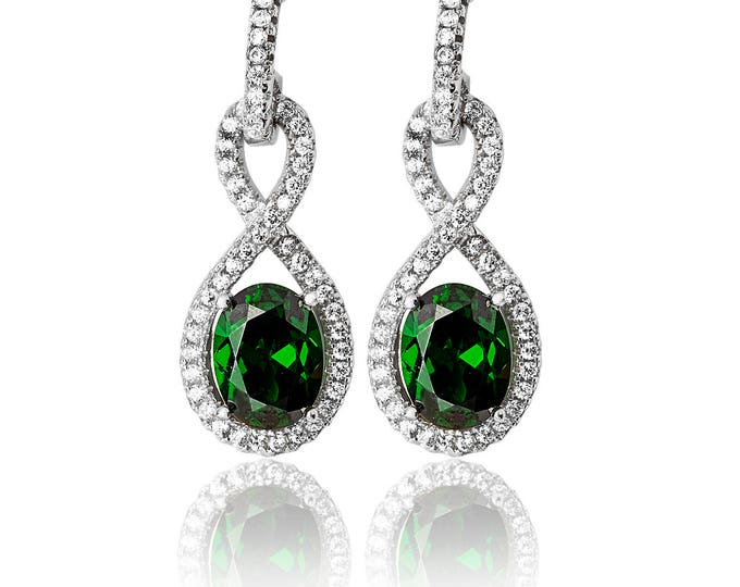 Emerald INFINITY Shape CZ  Drops  Sterling Silver 925  Fancy Earring Rhodium Plated- Ideal Gift For Her -Mom- Birthday- Christmas