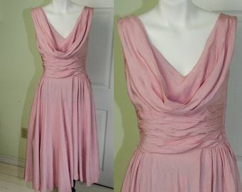 Vintage 1950's Woman's Pink Full Skirt Sleeveless Party Dress