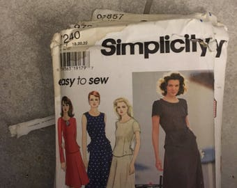 Simplicity Pattern # 7240 easy to sew Misses 2-pc Dress Size 18 20 22  UNCUT