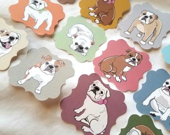 English Bulldog Die Cut Collection - Eco-friendly Set of 12 - Scrapbooking Embellishment