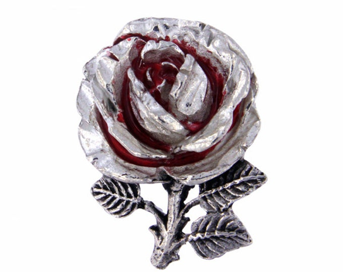 Rose brooch with red enamel  -Hand Made and Design in UK