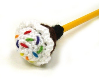Cupcake Pencil Topper - Eraser Cover - Birthday Decor - Crochet Cupcake Pattern - add fidget - yarn bomb pattern - PDF INSTANT DOWNLOAD