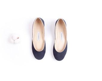Dark Navy Blue Suede Ballet Flats | Ballerina Flats | Women's Flat Shoes | Night Blue... ready to ship