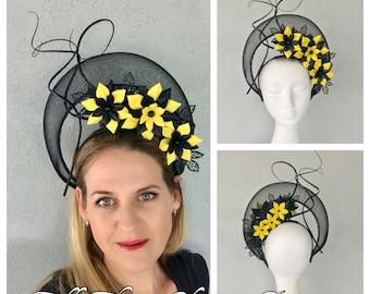 Ladies black and yellow halo headband fascinator