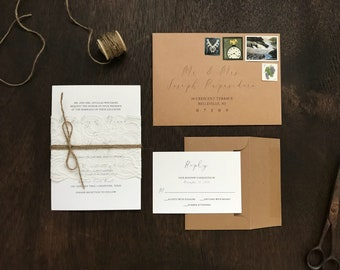 Rustic Wedding Invitation Set, Lace Wedding Invitation, Calligraphy Wedding Invitation, Elegant Wedding Invitation, Rustic Elegant Wedding