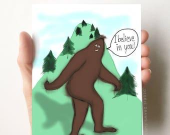 Bigfoot Card, Encouragement Cards, Funny Cards, Congrats Cards, Congratulations Cards, Just Because Card, Bigfoot, Encouragement Gift