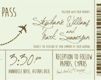 50 Vintage Pastel Destination Boarding Pass Ticket Wedding Invitations!