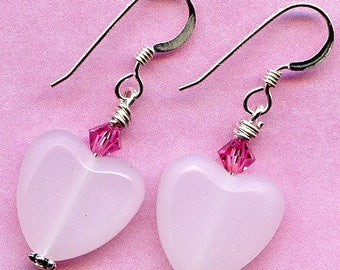 Pink Czech Hearts and Swarovski Sterling Silver Earrings