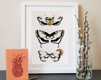 Butterflies A4 print with Gold detail