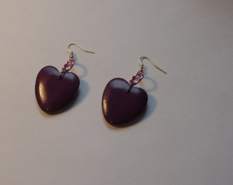 "purple heart earrings with wooden purple heart beads lavender and gray jump rings and fish hooks 2 1/4"" long"