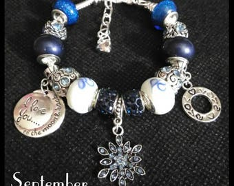 September Birthstone, Birthmonth European Charm Bracelet, Blue Snowflake