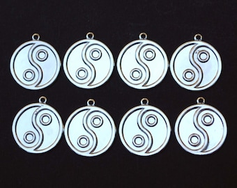 Vintage Lot of 8 Yin-Yan Sign Silver Toned Charm Pendants New Old Stock