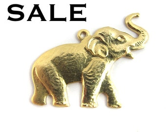 Brass Elephant Charms - Right Facing (4X) (V344) SALE - 40% off