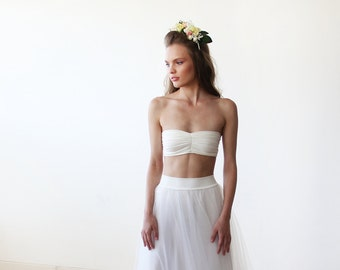 Ivory stretchy bandeau, Elastic strapless tube top 2038