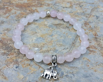 Elephant Bracelet, Rose Quartz Bracelet, Spiritual Wrist Mala, Protective Prayer Beads, Meditation Bracelet, Women Beaded Bracelet, For Her